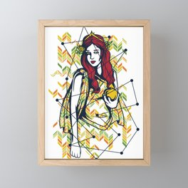 Lovely Girl and Her Golden Apple Framed Mini Art Print