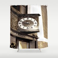 wall clock Shower Curtains featuring Clock by Yancey Wells