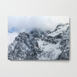 Clouds covering majestic mountains Metal Print
