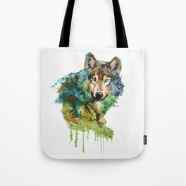 Wolf face watercolor painting Tote Bag