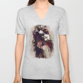 The girl with the flowers in her hair Unisex V-Neck