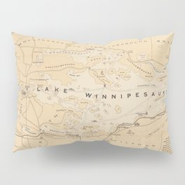 Vintage Map of Lake Winnipesaukee (1896) Pillow Sham