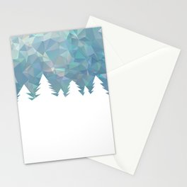 Northern Lights in winter forest in geometrical style Stationery Cards