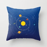 solar system Throw Pillows featuring Solar System by Lalu - Laura Vargas