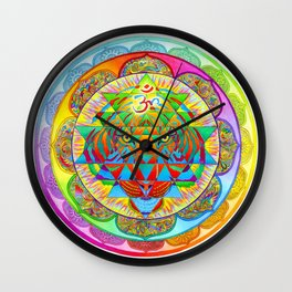 Inner Strength Psychedelic Tiger Sri Yantra Mandala Wall Clock
