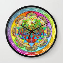 Inner Strength Psychedelic Tiger Sri Yantra Mandala Wall Clock