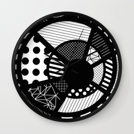 Twisted Web - Black And White, Patterned, Abstract Art Wall Clock