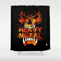 heavy metal Shower Curtains featuring Heavy Metal by Lindsay Spillsbury