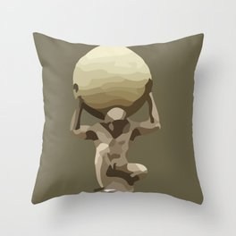 Man with Big Ball Illustration brown Throw Pillow