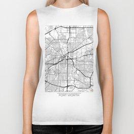 Fort Worth Map White Biker Tank