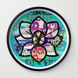 Lotus flower, South Indian inspired print Wall Clock