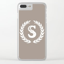 Beige Monogram: Letter S Clear iPhone Case