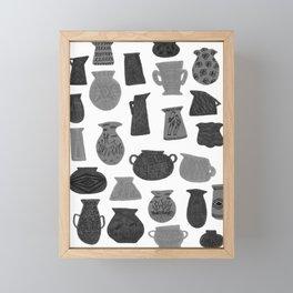 Black + Grey Pottery on White Framed Mini Art Print