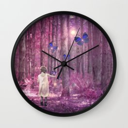 Girl in Bright Purple and Pink Forest with Butterflies Wall Clock