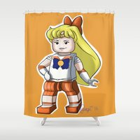 sailor venus Shower Curtains featuring Legolized Sailor Venus by luvusagi