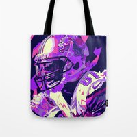 nfl Tote Bags featuring CALVIN JOHNSON // NFL  GRIDIRON ILLUSTRATIONS by mergedvisible