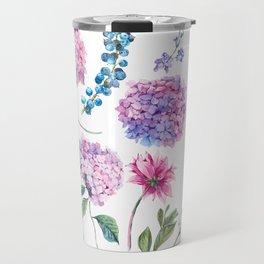 Blooming Hydrangea and garden flowers Travel Mug