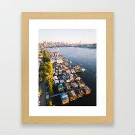 Houseboats on Lake Union Framed Art Print