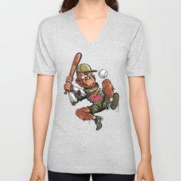 Baseball Monkey - Teak Unisex V-Neck