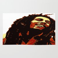 reggae Area & Throw Rugs featuring the god of reggae by  Agostino Lo Coco