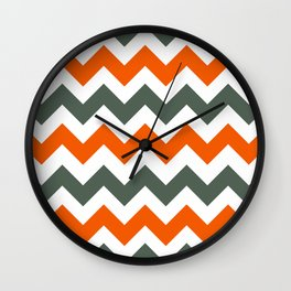 Chevron Pattern In Russet Orange Grey and White Wall Clock