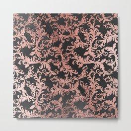Elegant vintage faux rose gold black floral damask Metal Print
