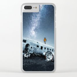 airplane wreck in iceland Clear iPhone Case