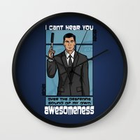 archer Wall Clocks featuring Archer Awesomeness by 666HUGHES