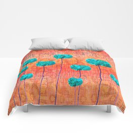 Vintage Poppy Flower Abstract Comforters