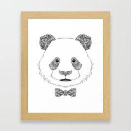 Panda head with bow Framed Art Print