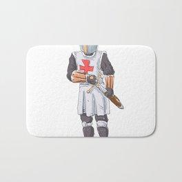 Knight Templar in armour with sword. Bath Mat