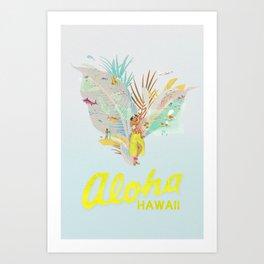 Aloha, Hawaii (Blue) Art Print