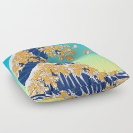 Shiba Inu in Great Wave Floor Pillow