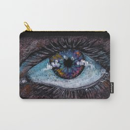 I'm watching you. Big green eye. Oil pastel on black background Carry-All Pouch