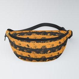 Light Pumpkin Orange and Black Halloween Nightmare Stripes Fanny Pack