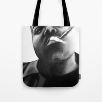 biggie smalls Tote Bags featuring Biggie Smalls by Lucy Ford