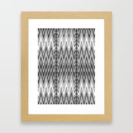 Flame Stitch Pattern, Gray, Black and White Framed Art Print