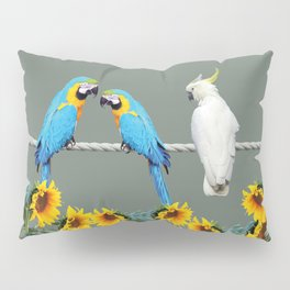 Macaw and cockatoo on rope with sunflowers Pillow Sham