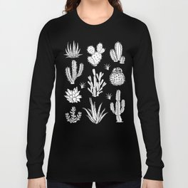 Cactus Pattern on Teal Long Sleeve T-shirt