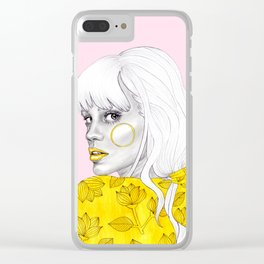 Yellow girl on pink Clear iPhone Case