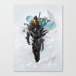 Ninja mode snowboaring Canvas Print