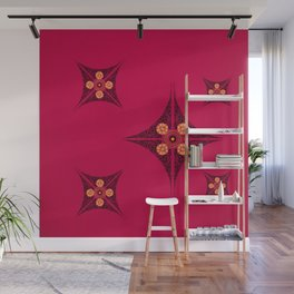 Pata Pattern in Black on Pink Wall Mural