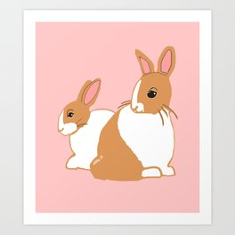 Blonde Dutch Rabbits Art Print