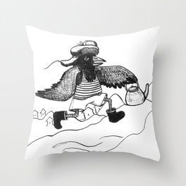 A Raven with a strict wife Throw Pillow