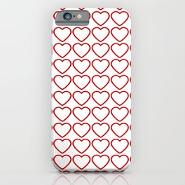 Strict sparkling pattern of red hearts on a light background. iPhone Case