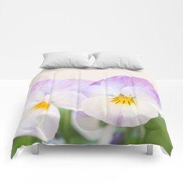 Spring Love #1 - Soft violet-white Pansies #decor #art #society6 Comforters