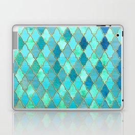 Aqua Teal Mint and Gold Oriental Moroccan Tile pattern Laptop & iPad Skin