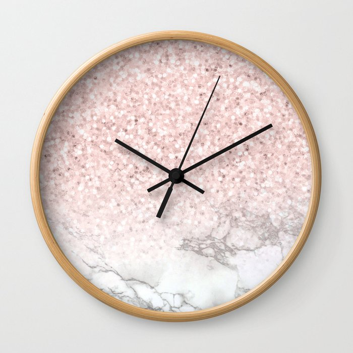 Pretty Rosegold Marble Sparkle Wall Clock