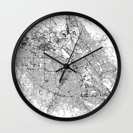 San Jose White Map Wall Clock
