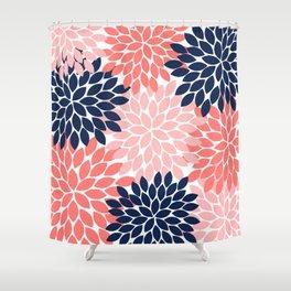 Navy Coral Pink Flower Pattern, Floral Pattern, Flower Petals, Flower Burst Shower Curtain